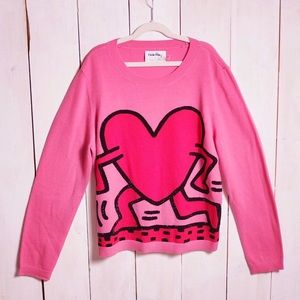 Rare Alice + Olivia Keith  Pink Heart Knit Sweater
